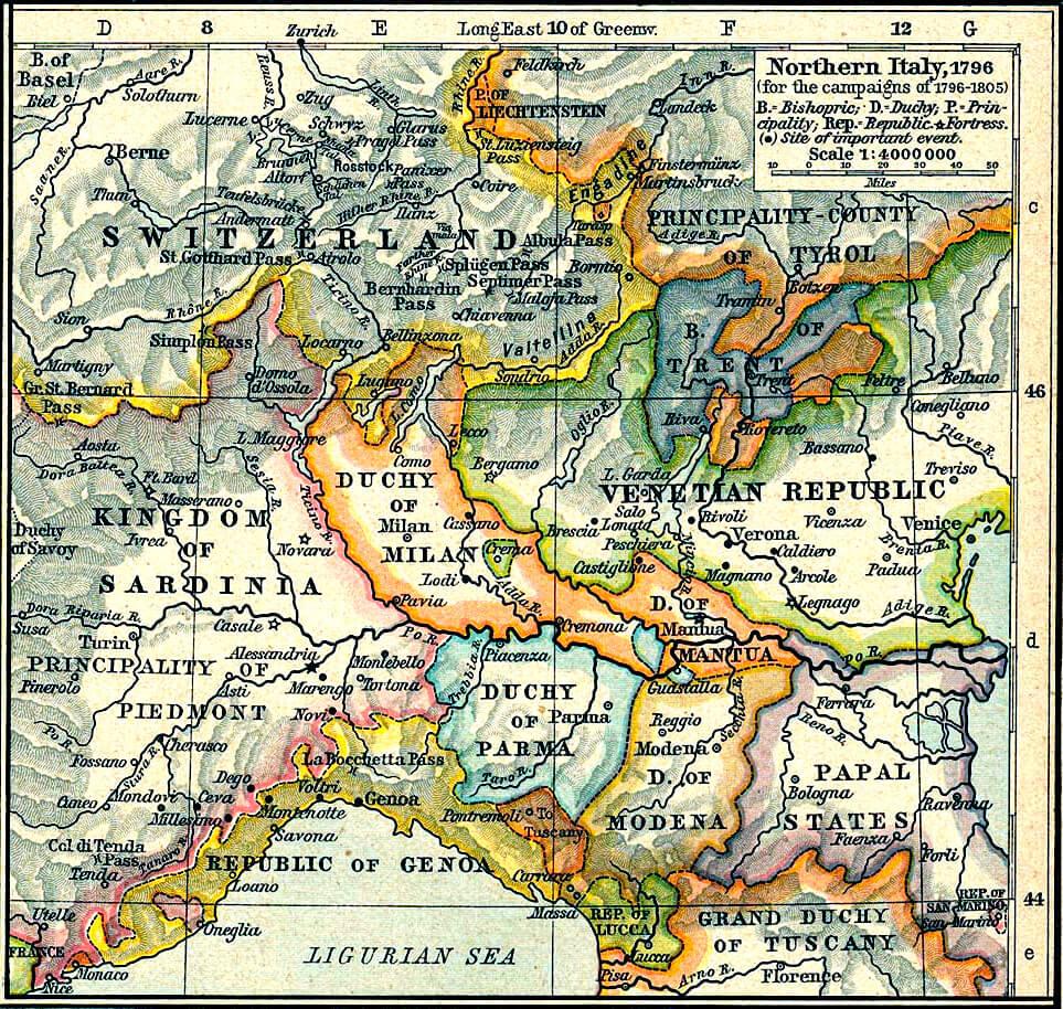 Cartina dell'Italia settentrionale nel periodo 1796-1805