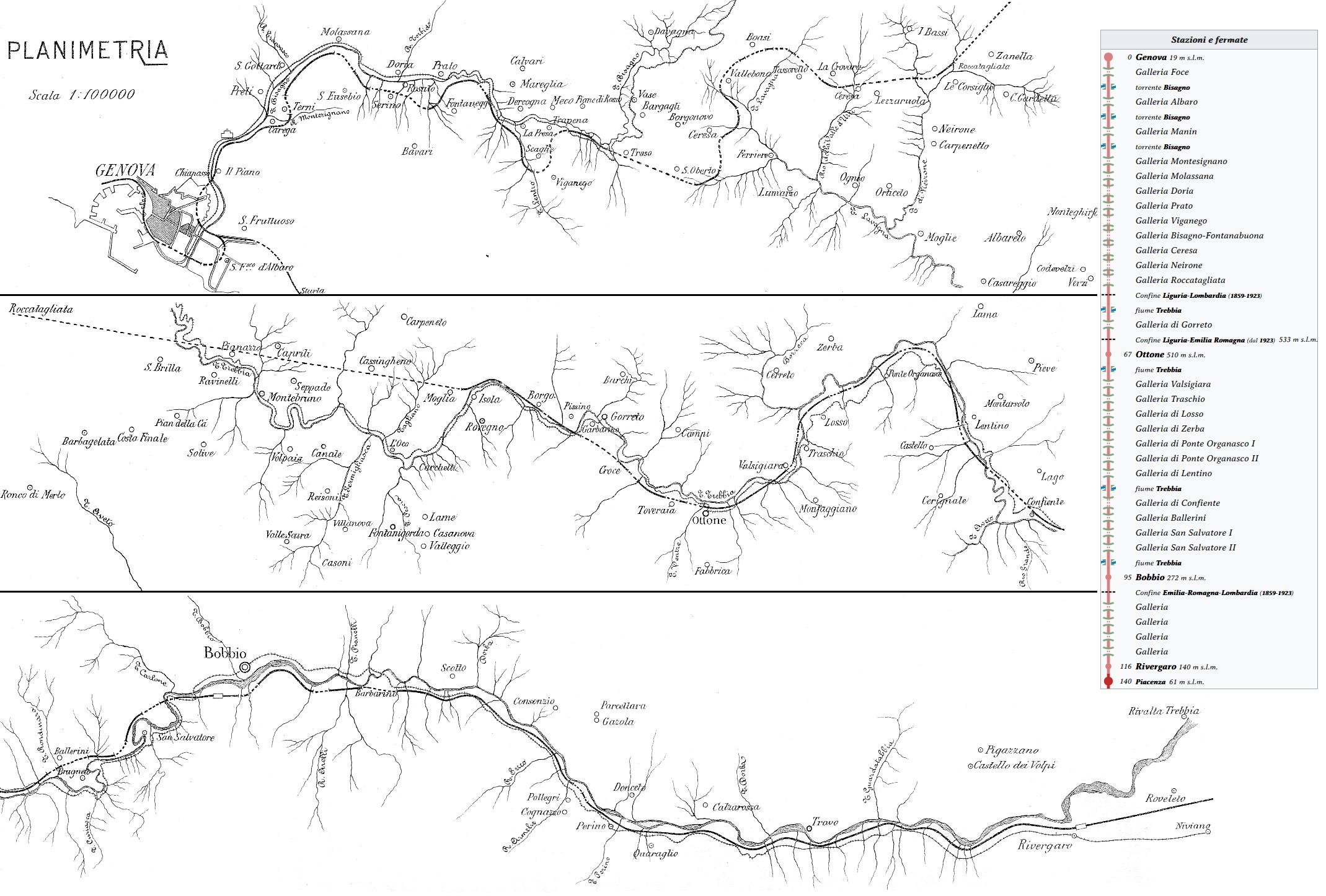 Cartografia della linea Ferroviaria: Genova-Piacenza (1914)